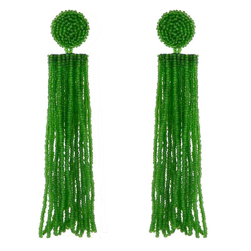 Brinco-franja-de-micangas-verde